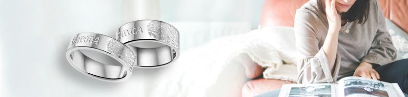 ring met vingerafdruk van staal
