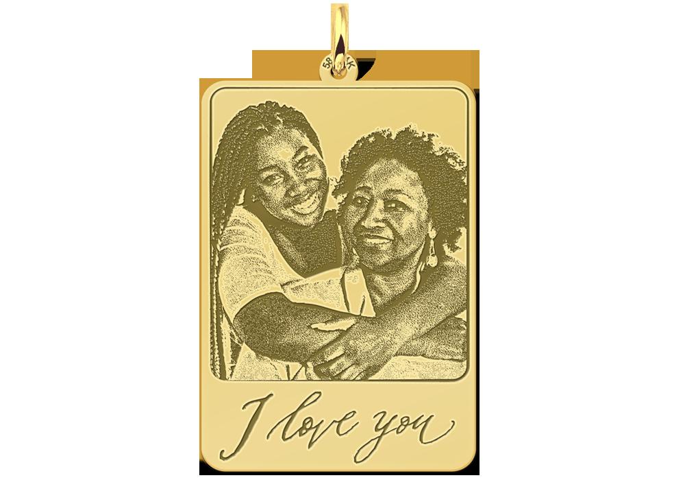 Gouden foto hanger met eigen tekst