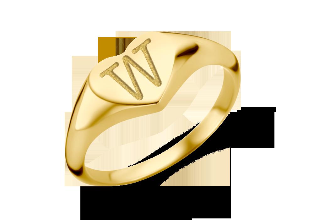 Herzförmiger goldener Siegelring mit einem Initial