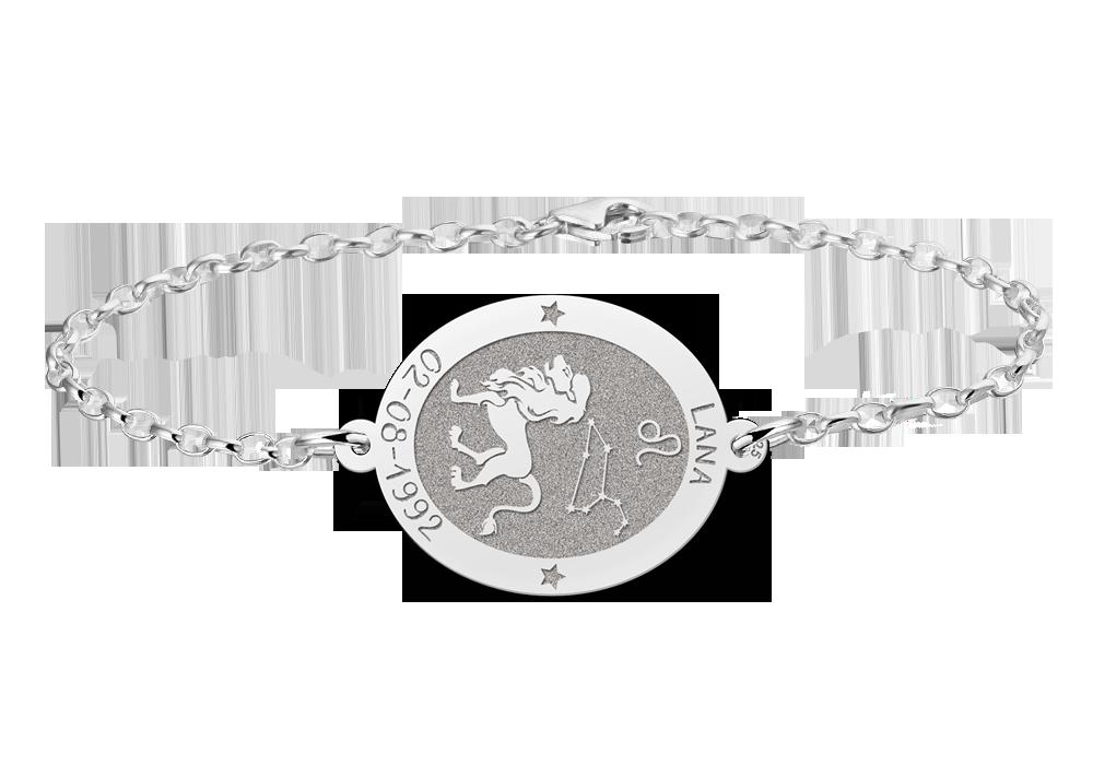 Silbernes Sternzeichen Armband oval Löwe