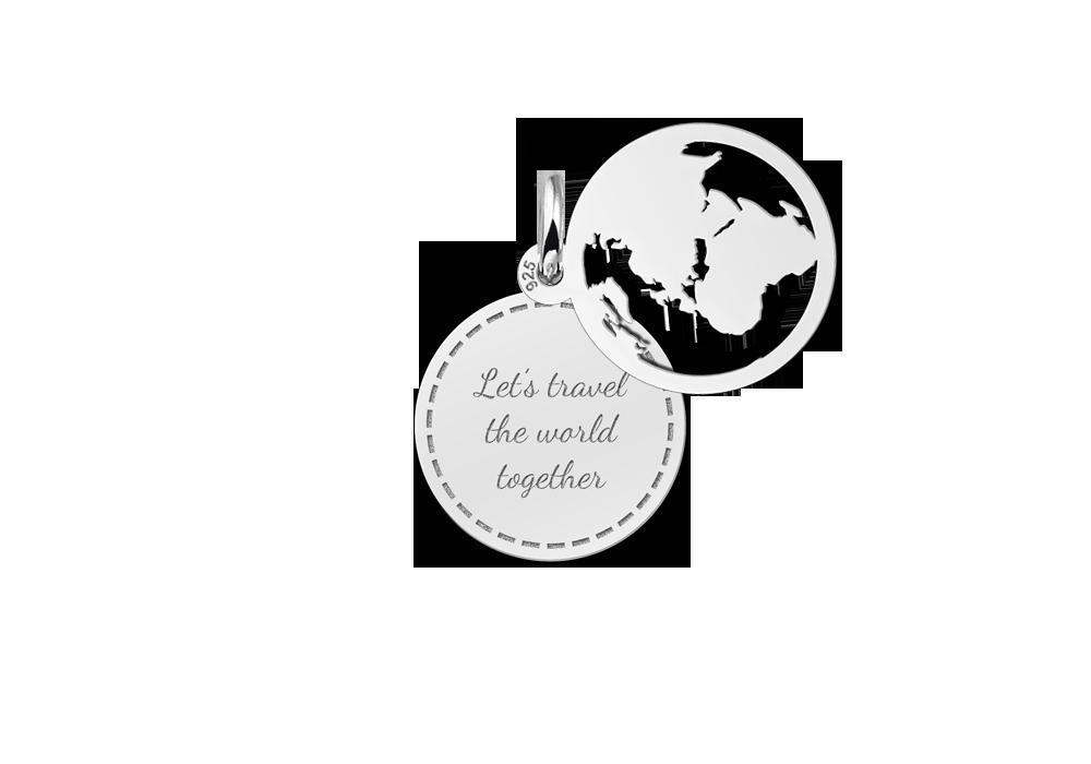 Silberner filigraner Weltkugel Anhänger mit Gravur