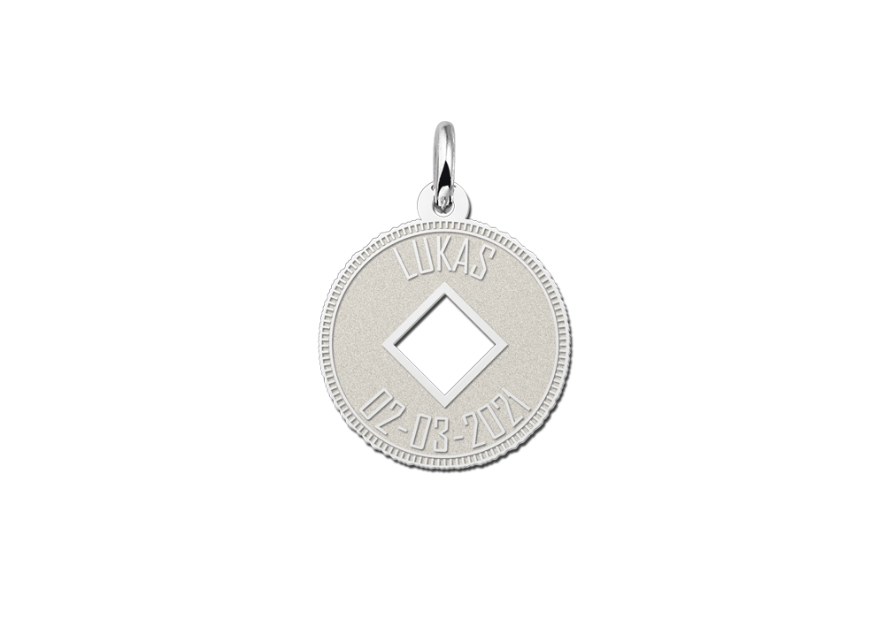 Silberner Münzanhänger mit Karo Zeichen und Gravur