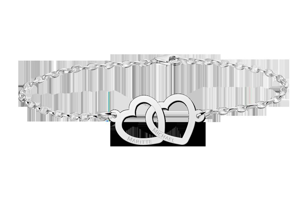 Zilveren armband met twee hartjes