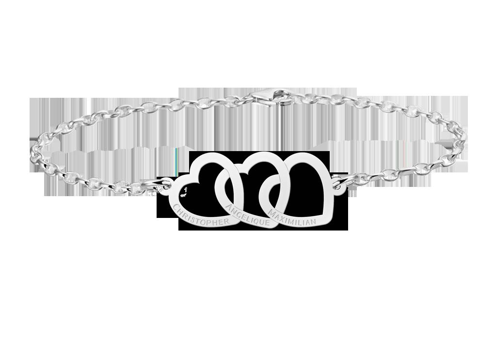 Zilveren armband met drie hartjes