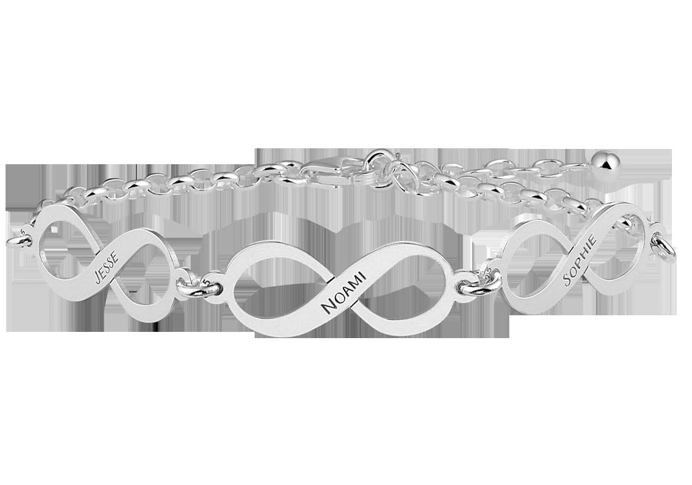 Silbernes Infinity Armband mit 3 Namen