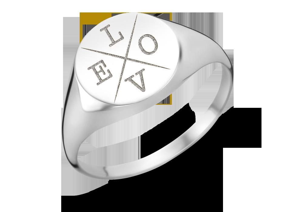 Runder silberner Siegelring mit vier Initialen