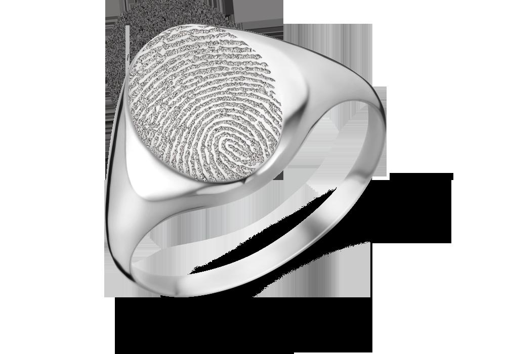Silberner Siegelring oval mit Fingerabdruck
