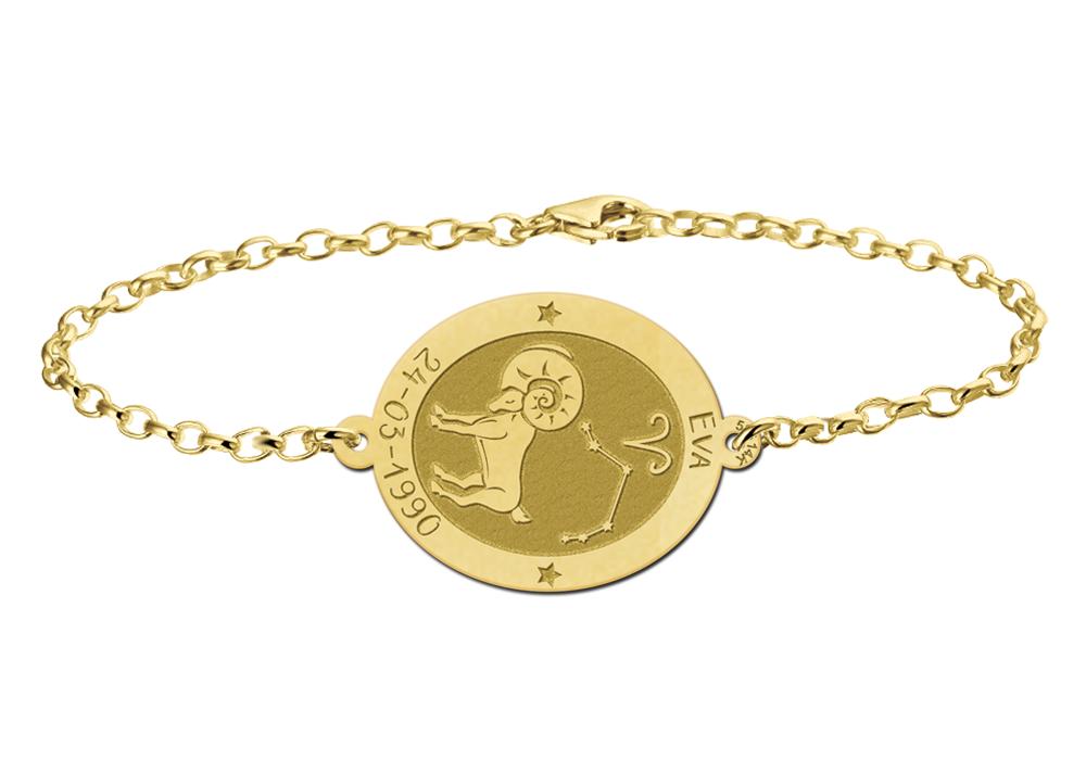 Gouden armband sterrenbeeld ovaal Ram