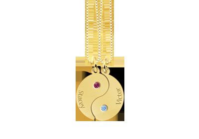 Yin Yang aus Gold mit Geburtsstein