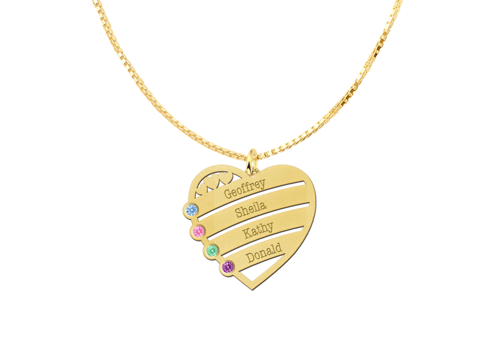 Herzkette mit Geburtsstein gold