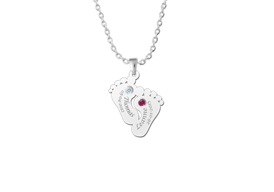 "pendant baby feet with birthstone"" alt="