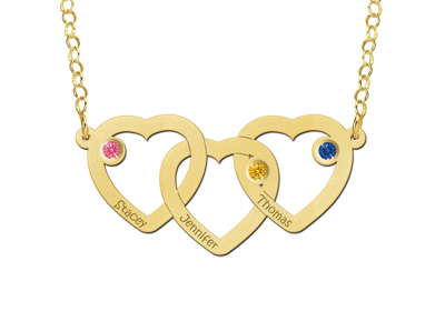 """Necklace with three hearts gold"""" alt="""