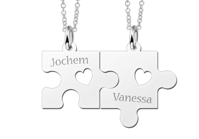 "silver puzzle piece necklace friend"" alt="
