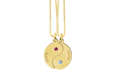 Yin Yang of gold with birthstones
