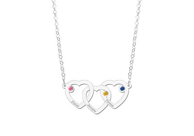 Silver birthstone necklace three hearts