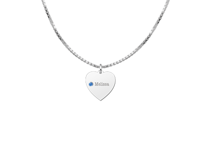 Silver heart with birthstone
