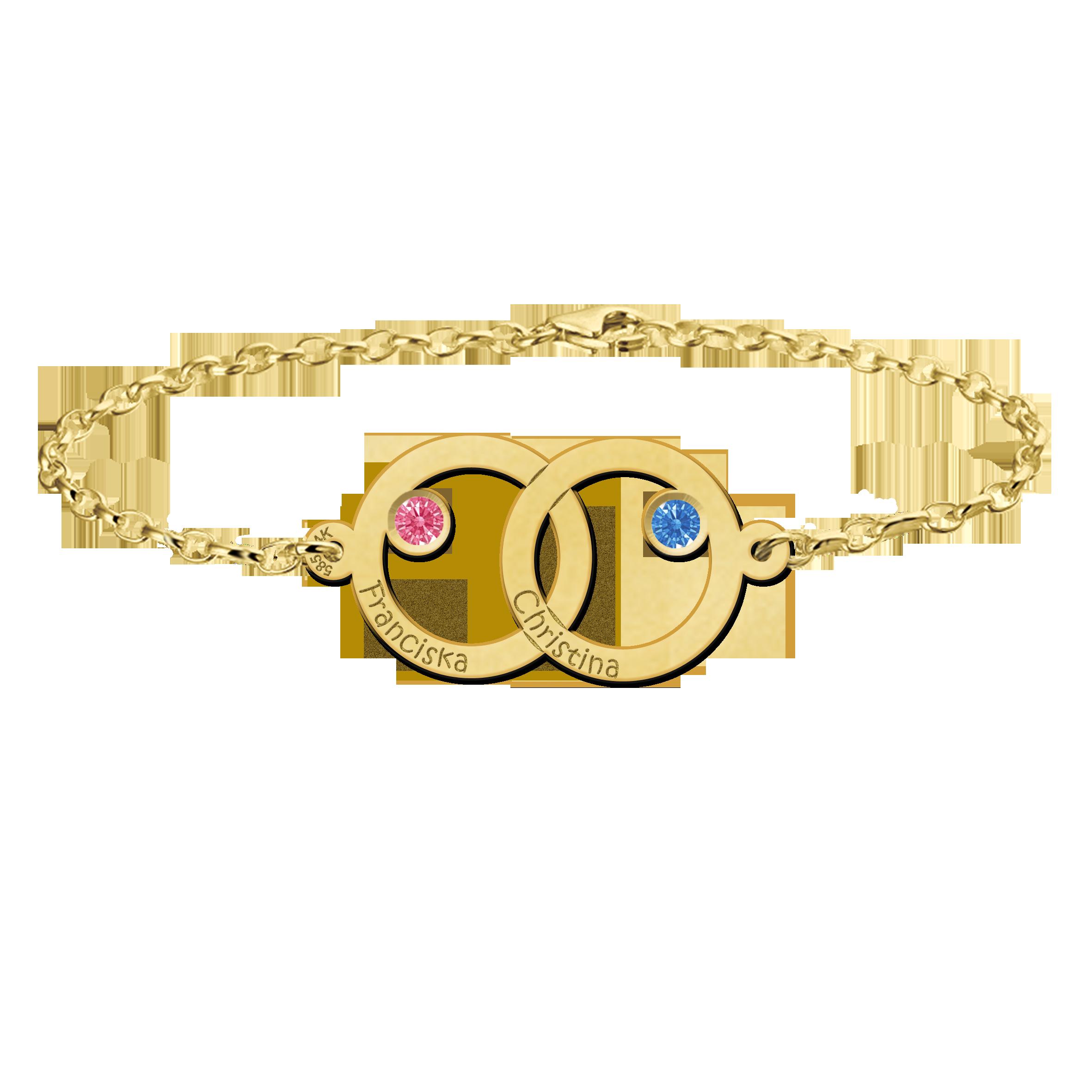 Gouden moeder-dochter-armband met twee rondjes en geboortestenen