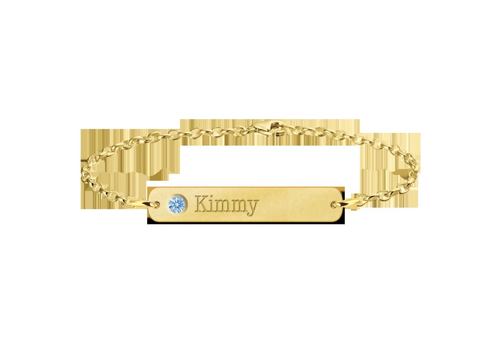 Gouden bar armband met naam en geboortesteen