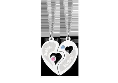 Zilveren vriendschapsketting hart met zirkonia