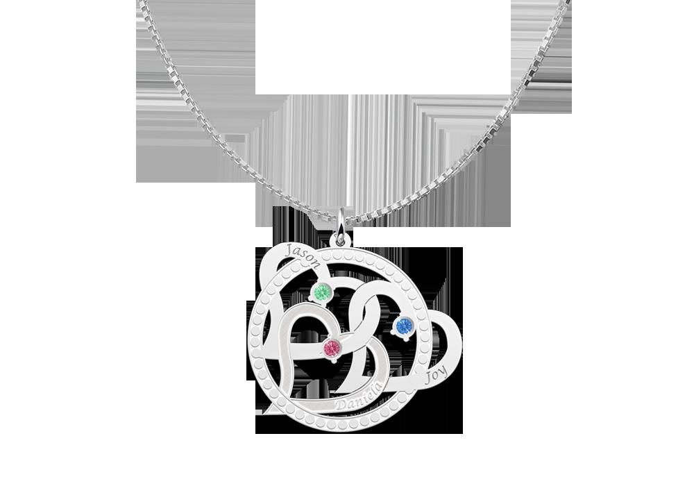 Zilveren hart hanger drie harten met naam en geboortesteen