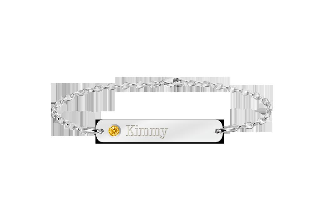 Zilveren bar armband met naam en geboortesteen