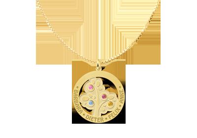 Lebensbaum Anhänger Gold mit Geburtssteinen