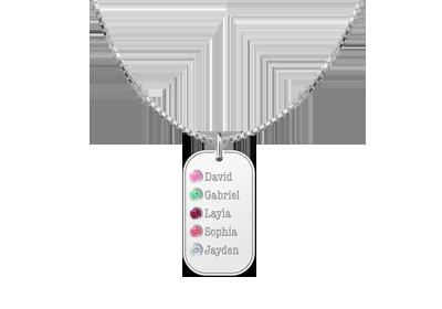 Geburtsstein Anhänger aus Silber mit fünf Namen