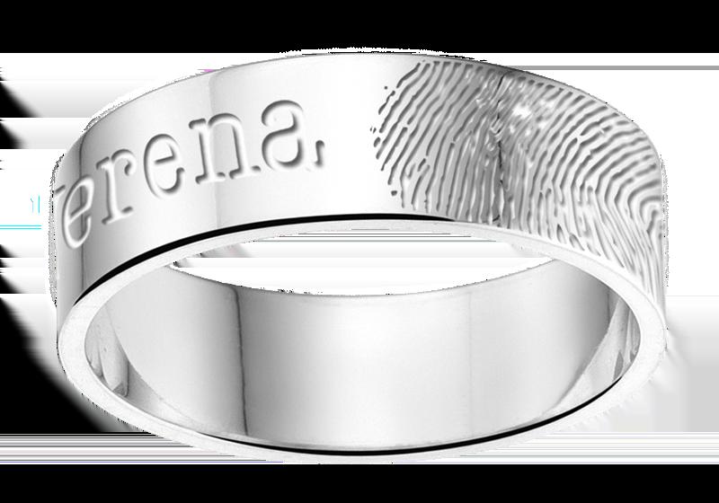 silberener ring mit Fingerabdruck