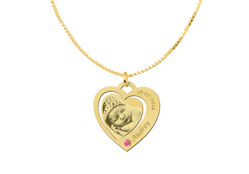 Photo pendant heart with Swarovski crystal gold