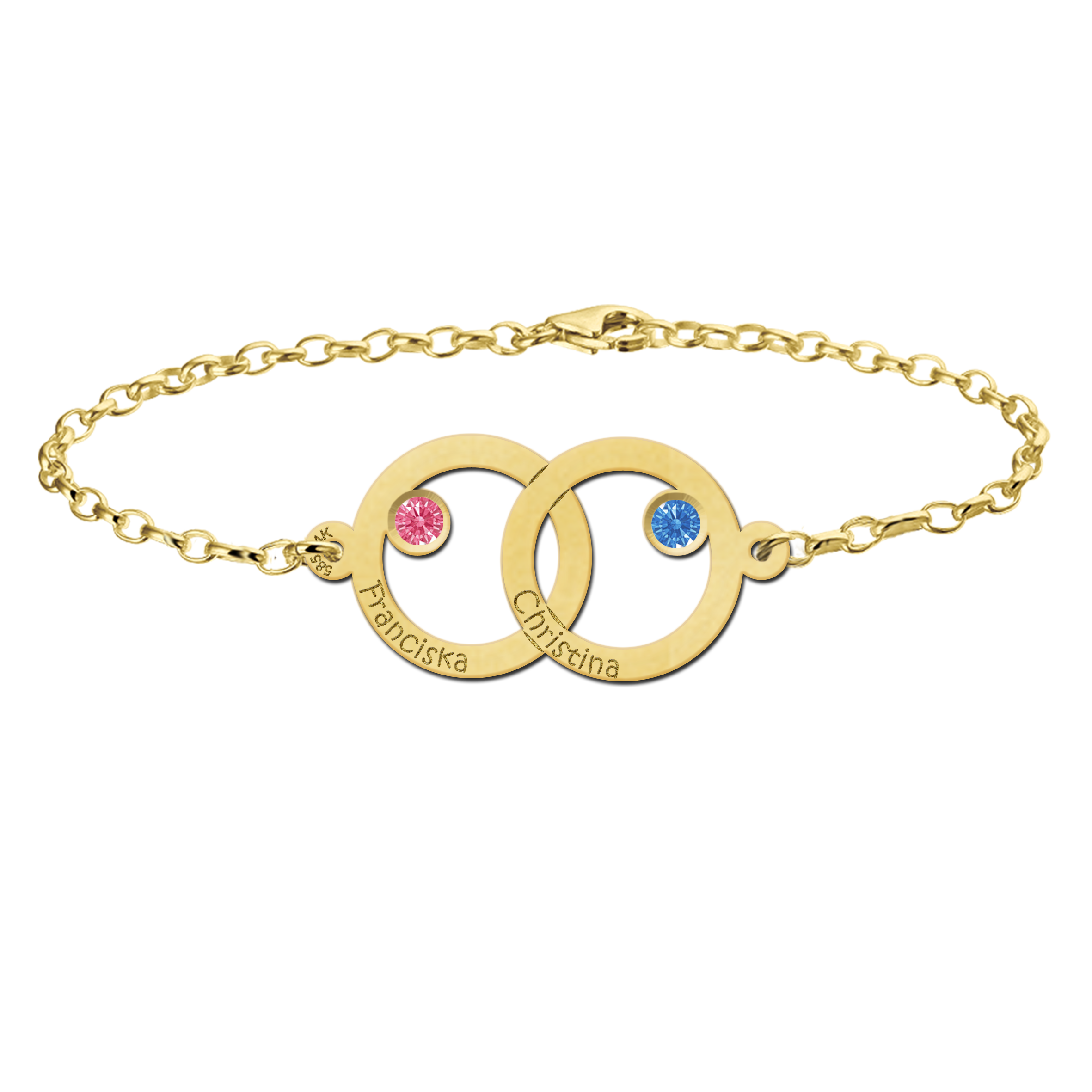 golden mother-daughter bracelet with two rounds and birthstones