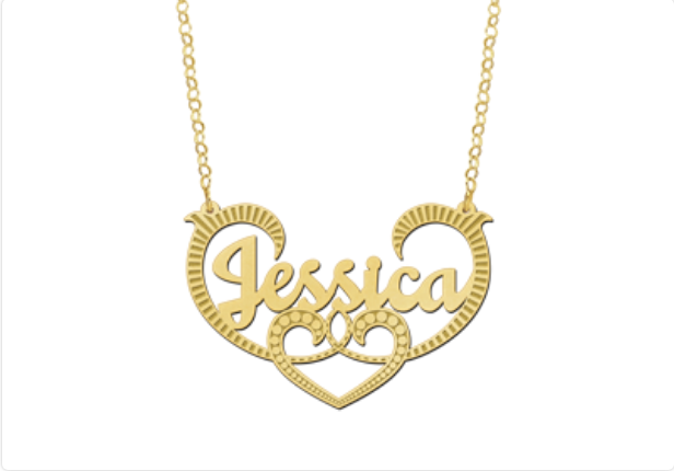name necklace with a heart