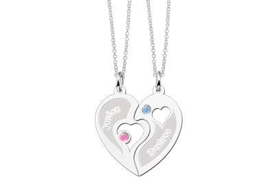 Silver relationship pendant heart with birth stone