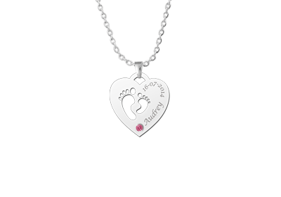 "Mother child pendant heart birthstone feet silver"" alt="