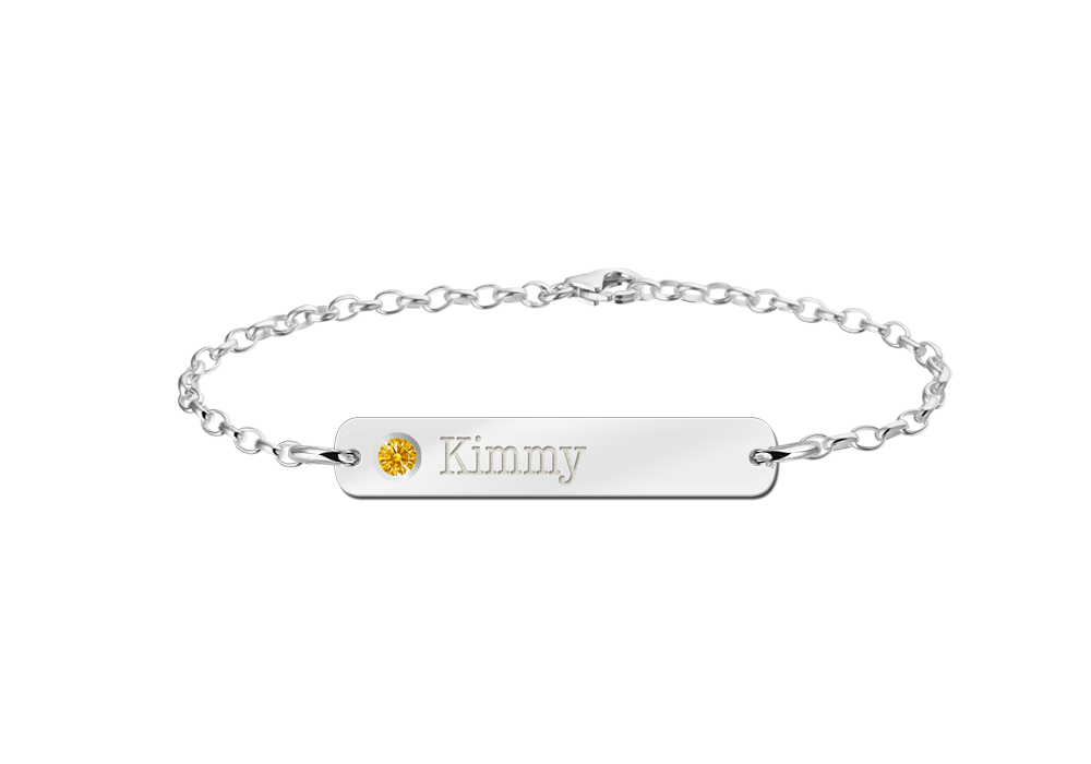 Silver name bracelet with birthstone