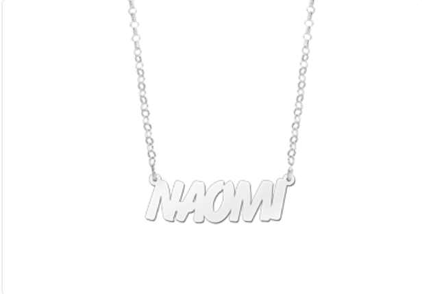 clear font name necklace